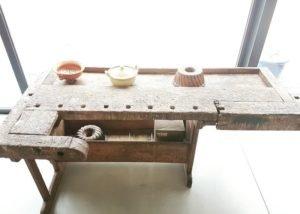 Antieke werkbank, keukenmatch, i-kook sittard, vintage te koop